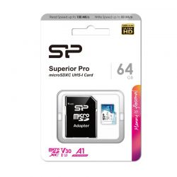 SILICON POWER SUPERIOR PRO MICRO SDXC 64GB + ADAPTER CLASS 10 UHS-I U3 A1 V30 100/80 MB/S